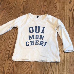 J. Crew 3/4 sleeve terry sweatshirt